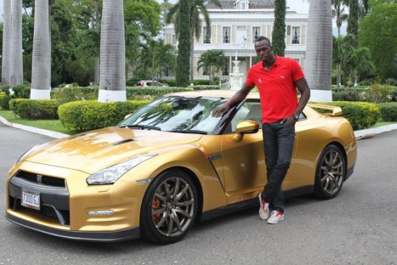 Mr. Bolt Obtains a Particular Gold 2014 Nissan GT-R in Jamaica