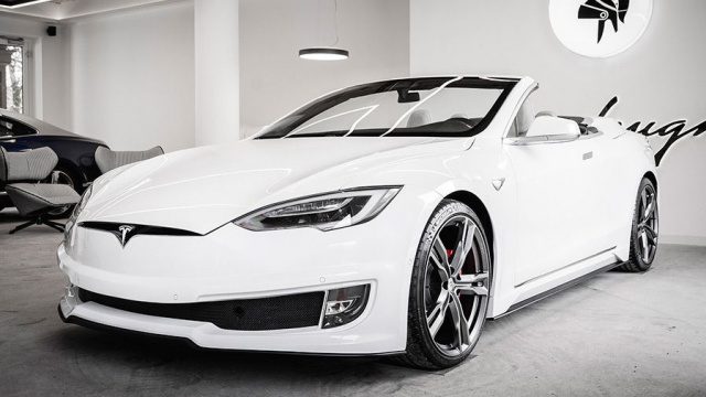 Tesla Model S turned into a convertible