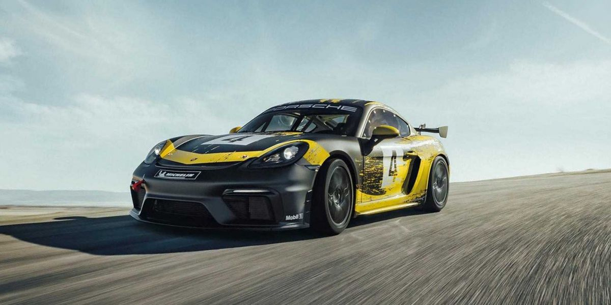 Porsche 718 Cayman appeared in a racing style